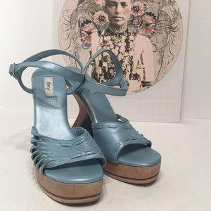 SKY blue wedge 90's Malibu girl grunge